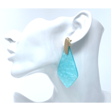 Blue Resin Trendy Teardrop Statement Earrings