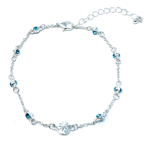 Blue Rhinestone Silver Sand Dollar Ankle Bracelet - Beach Anklets
