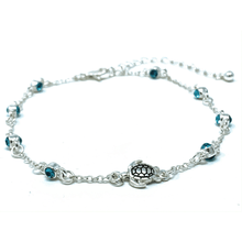 Blue Rhinestone Turtle Silver Anklet - Beach Anklets