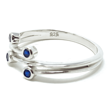 Blue Sapphire Bezel Wraparound .925 Sterling Silver Ring - Fashion Jewelry