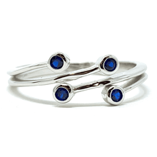 Blue Sapphire Bezel Wraparound .925 Sterling Silver Ring For Women - Fashion Jewelry