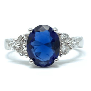 Blue Sapphire CZ .925 Sterling Silver Engagement Ring For Women - Fashion Jewelry