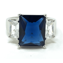 Blue Sapphire & CZ .925 Sterling Silver Ring For Women - Fashion Jewelry