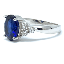 Blue Sapphire CZ Sterling Silver Engagement Ring For Women - Fashion Jewelry