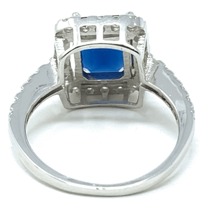 Blue Sapphire Emerald Cut .925 Sterling Silver Ring - Fashion Jewelry