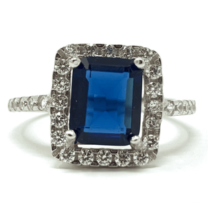 Blue Sapphire Emerald Cut & CZ .925 Sterling Silver Ring - Fashion Jewelry