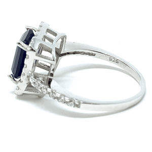 Blue Sapphire Emerald Cut & CZ .925 Sterling Silver Ring For Women - Fashion Jewelry