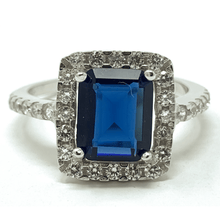 Blue Sapphire Emerald Cut & CZ Sterling Silver Ring For Women - Fashion Jewelry