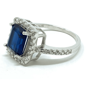 Blue Sapphire Emerald Cut Sterling Silver Ring For Women - Fashion Jewelry