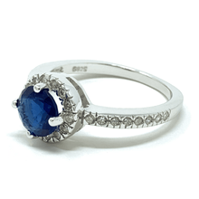 Blue Sapphire Halo .925 Sterling Silver Ring For Women - Fashion Jewelry