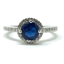 Blue Sapphire Halo Style .925 Silver Ring For Women - Fashion Jewelry