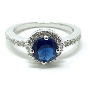 Blue Sapphire Halo Style .925 Sterling Silver Ring For Women - Fashion Jewelry