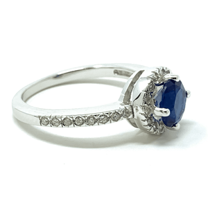 Blue Sapphire Halo Style Sterling Silver Ring For Women - Fashion Jewelry