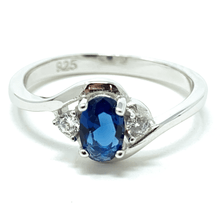 Blue Sapphire Oval & CZ .925 Sterling Silver Ring - Fashion Jewelry