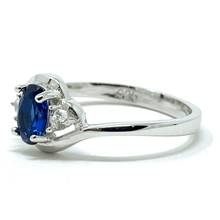 Blue Sapphire Oval & CZ Sterling Silver Ring - Fashion Jewelry