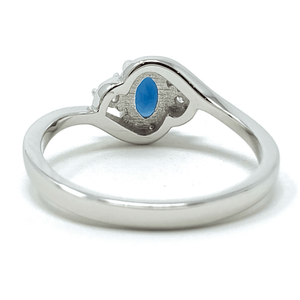 Blue Sapphire Oval & CZ Sterling Silver Ring For Women - Fashion Jewelry