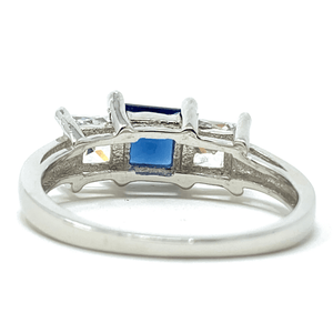 Blue Sapphire Princess Cut .925 Sterling Silver Ring For Women - Fashion Jewelry