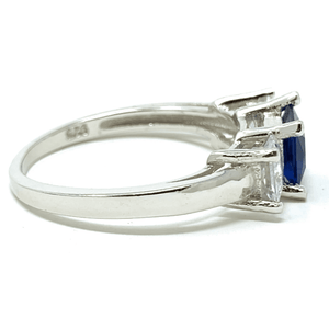 Blue Sapphire Princess Cut & CZ .925 Sterling Silver Ring For Women - Fashion Jewelry