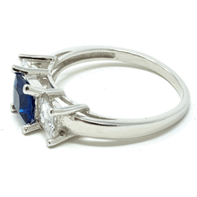 Blue Sapphire Princess Cut Sterling Silver Engagement Ring For Women - Fashion Jewelry