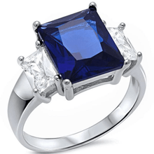 Blue Sapphire Radiant Cut & Baguette CZ .925 Sterling Silver Ring For Women - Fashion Jewelry