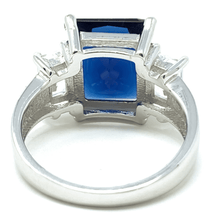Blue Sapphire Radiant Cut & Baguette CZ Sterling Silver Ring - Fashion Jewelry