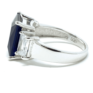 Blue Sapphire Radiant Cut & CZ .925 Sterling Silver Ring - Fashion Jewelry