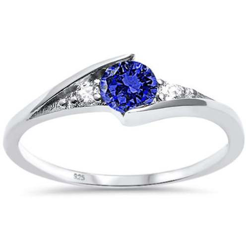 Blue Sapphire Round Solitaire .925 Sterling Silver Ring For Women - Fashion Jewelry