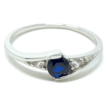 Blue Sapphire Round Solitaire Sterling Silver Ring For Women - Fashion Jewelry