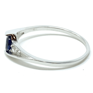 Blue Sapphire Solitaire .925 Silver Ring For Women - Fashion Jewelry