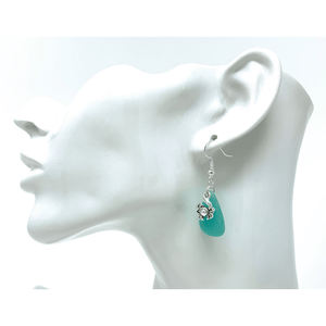 Blue Sea Glass Dangle Earrings With Silver Crab Charm - Fashion Jewelry