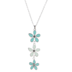 Silver Necklaces With Blue Sea Glass Flower Pendant For Women - Fashion Jewelry