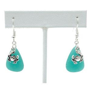 Blue Seaglass Silver Crab Charm Beach Earrings For Women - Costume Jewelry