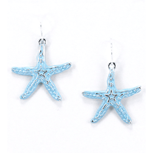 Silver Starfish Dangle Earrings With Blue Epoxy - Beach Jewelry