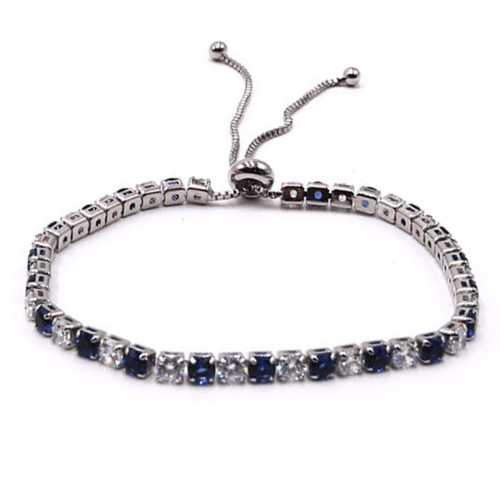 Blue & White CZ Slide Bolo Tennis Bracelet In Silver - Women's Fashion Jewelry