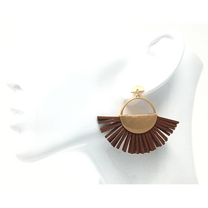 Brown Leather Fan Tassel Stud Earrings - Statement Jewelry