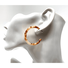 Brown Resin Circle Hoop Earrings - Statement Jewelry