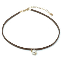 Pearl Bead On Brown Suede Leather Choker Necklace - Women's Fashion Necklace