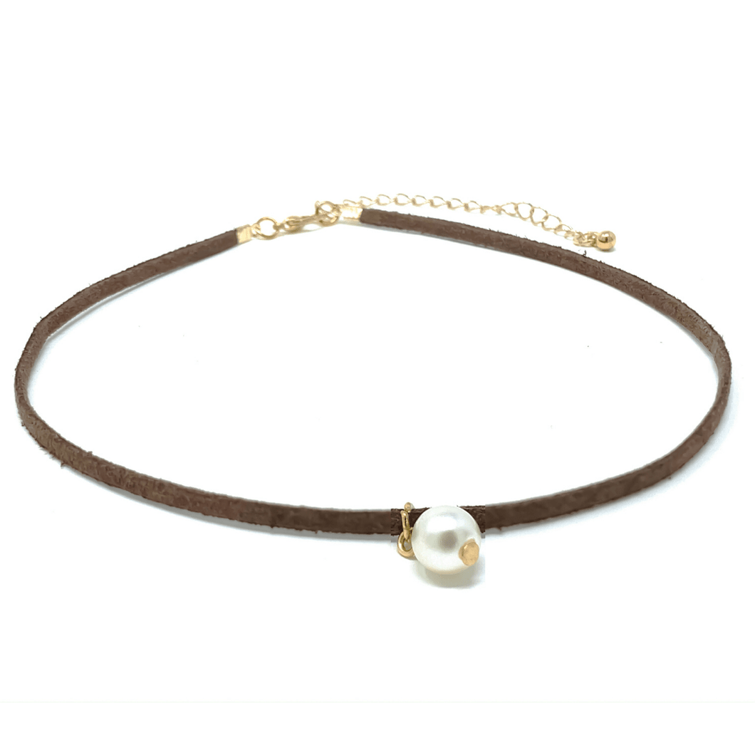Brown Suede Leather Pearl Choker Necklace - Women's Fashion Necklace
