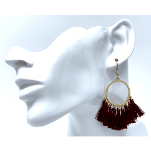 Burgundy Thread Fringe Circle Drop Earrings