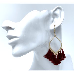 Burgundy Thread Fringe Teardrop Dangle Earrings