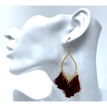 Burgundy Thread Fringe Tassel Teardrop Drop Earrings - Statement Jewelry