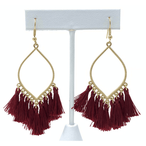 Burgundy Thread Tassel Teardrop Earrings For Women