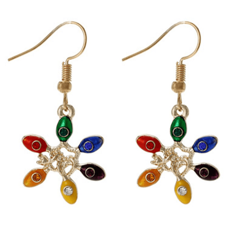 Christmas Earrings With Colorful Lights - Stocking Stuffers