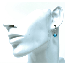 Circle Dangle Sterling Silver Larimar Earrings - SeaSpray Jewelry