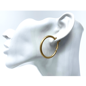 Classic Worn Gold Circle Hoop Earrings For Women - Costume Jewelry