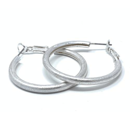 Classic Worn Silver Hoop Earrings For Women - Fashion Jewelry