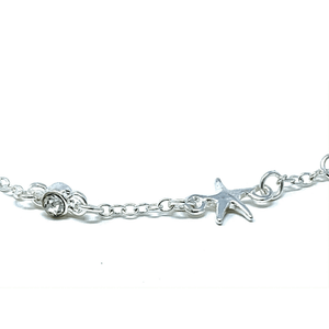 Clear Rhinestone Silver Starfish Anklet - Ankle Bracelet