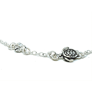 Silver Turtle Clear Rhinestone Anklet - Beach Anklets