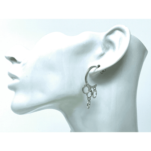 Crescent Circle Sterling Silver Statement Earrings - SeaSpray Jewelry