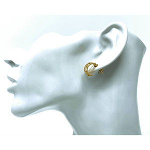 Crescent Half Hoop Gold Plated Wire Stud Earrings - SeaSpray Jewelry